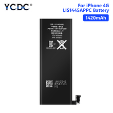 YCDC Lithium High Quality Real capacity 3.7V 1420mAh Battery For iPhone 4 4G iPhone4 iP4 Rechargeable Phone Bateria Batteries