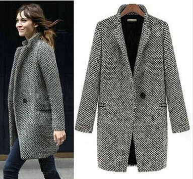 dd28a6a8730 Free Shipping Elegant Women Winter Wool Coats Plus Size Grey Warm Cotton  Trench Ladies Velvet Thick Jacket Long Outdoor Overcoat