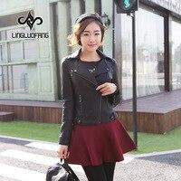 2018 Plus Size S 5XL Customized Spring Leather Jacket For Women Long Sleeve Motorcycle Leather Jacket