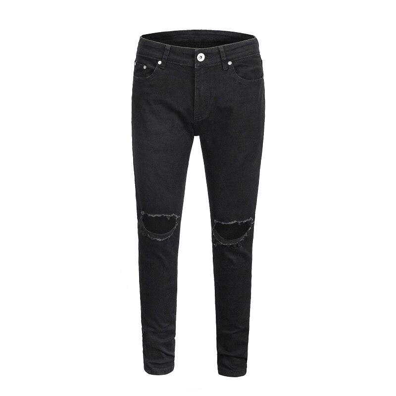 QoolXCWear haute qualité Slim Jeans 2019 hommes mode encré élastique haute rue trou Jeans bleu/noir/gris Jeans pantalons