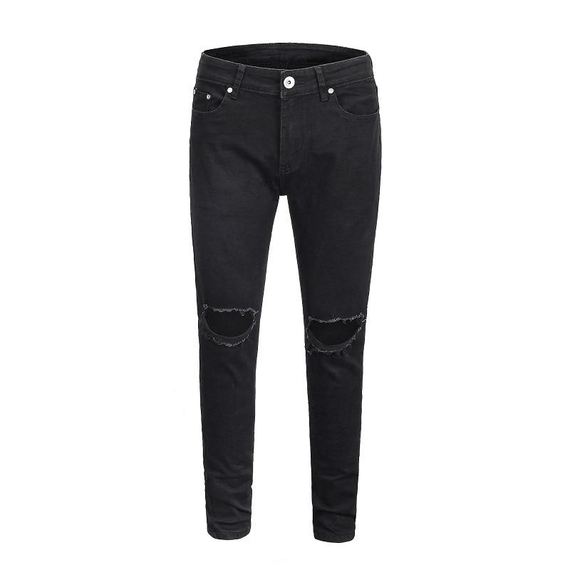 QoolXCWear high quality Slim Jeans 2019 Men Fashion Inked Elastic High Street Hole blue/black/gray Pants trousers