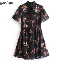 Summer 2018 Women Floral Printed Chiffon Dress Lady Bow Tie Stand Collar Short Sleeve A Line