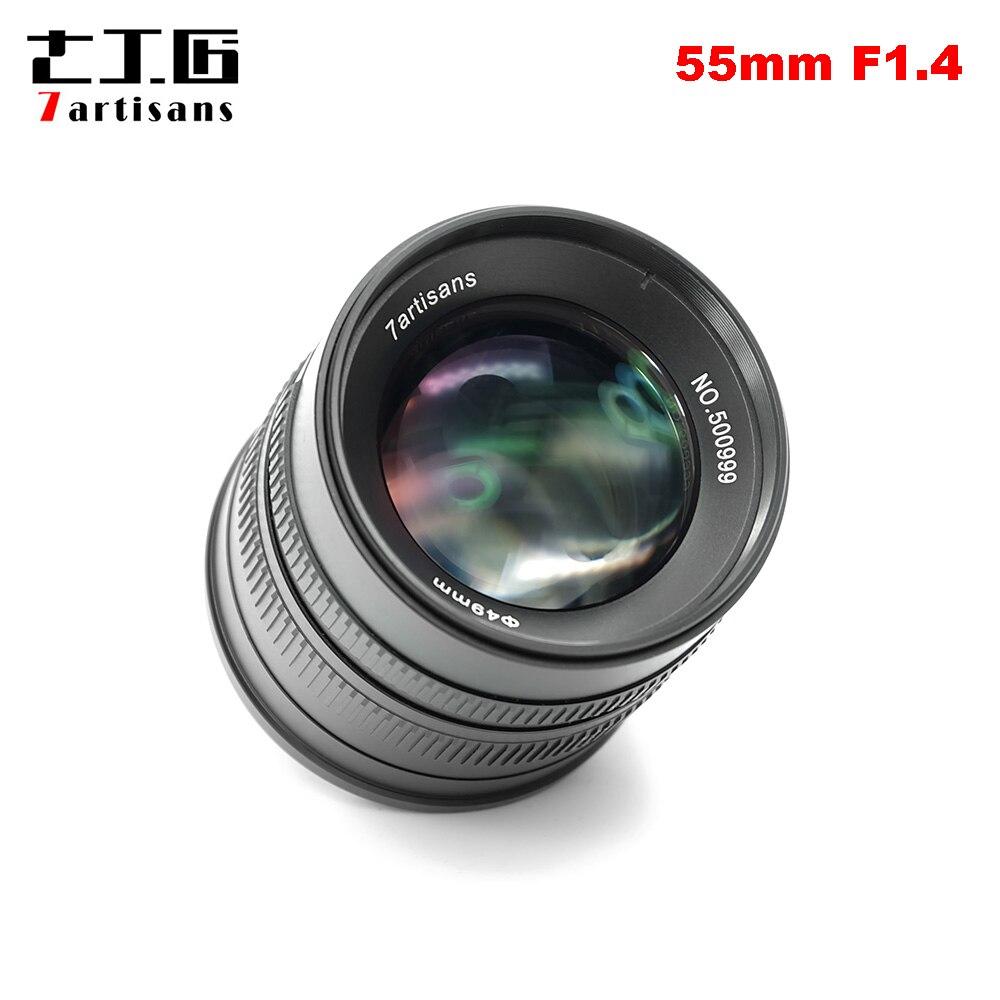 7 ремесленников APS-C 55 мм F1.4 руководство фиксированной объектив для Fuji X Крепление камеры X-A1 X-A10 X-A2 X-A3 X-AT X-M1 XM2 X-T1 X-T10 X-T2 X-T20