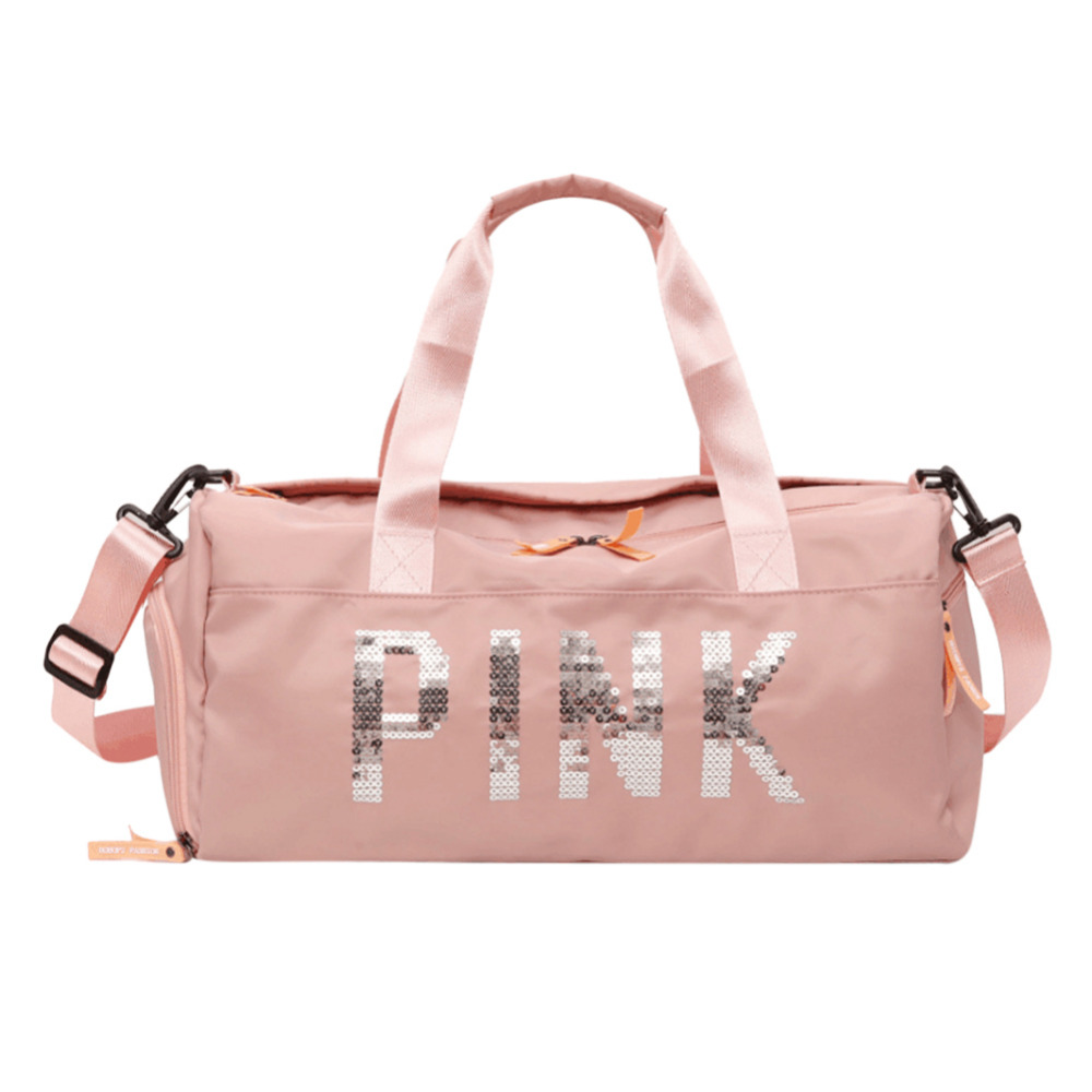 Large Capacity Travel Gym Tote Luggage Bag Pink Black Sequin