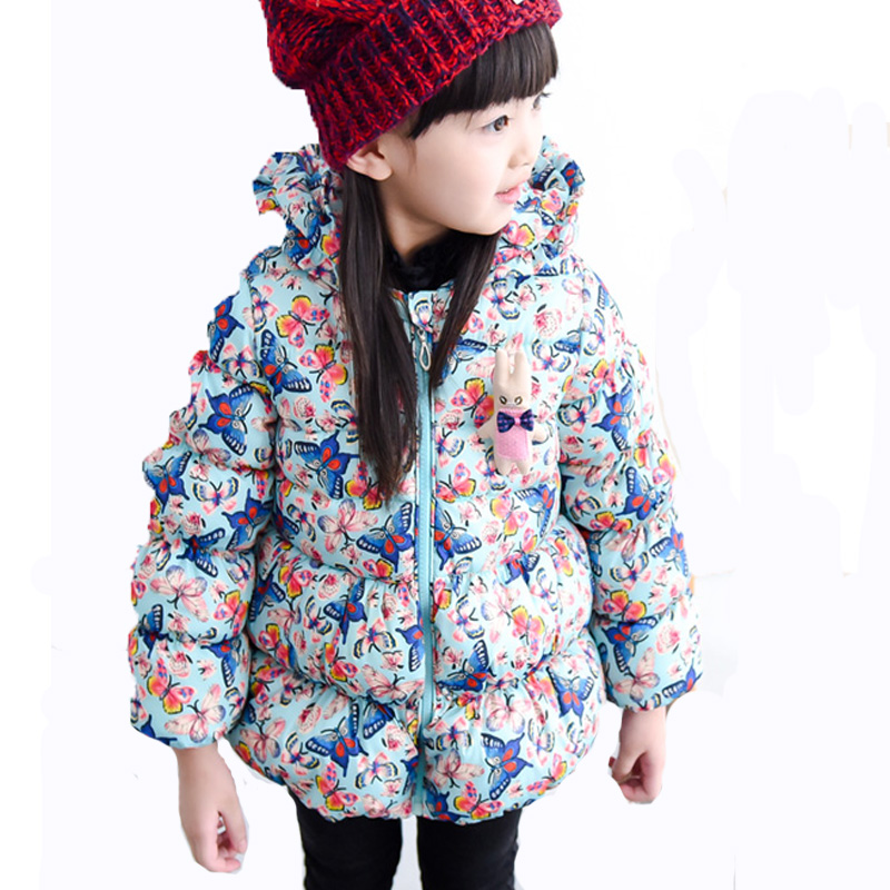 ФОТО 11.11 Girls Butterfly Outwear For Winter Thick Jackets Korean Print Style Baby 2-7 Years Kids Girls Coats Children Clothing