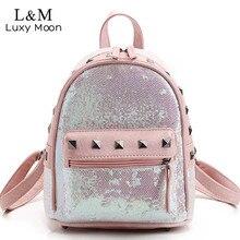 LUXY MOND Mode Mini Glitter Rucksack Frauen Pailletten 2017 Kühle Teenage Mädchen rosa Pu-leder Rivet Rucksäcke mochila Neue XA1042H