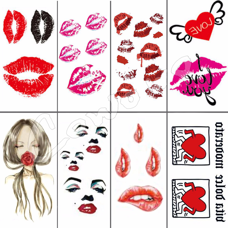 Sexy Red Black Kiss Lips Body Art Beauty Makeup Waterproof Temporary Tattoo Stickers