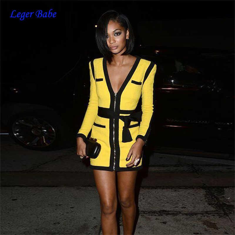 c20760b90e 2018 Leger Babe HL New Women Bandage Dress Deep V Front Zipper Long Sleeve  Yellow Patchwork