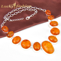 fashion necklaces for women new arrive unique astonishing rare oval orange Created amber handmade silver plated jewelry
