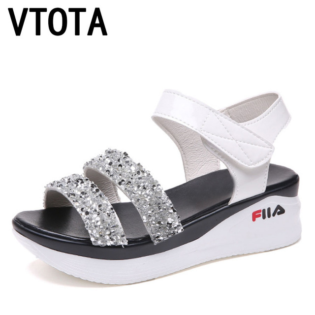 7a39d8b35bd VTOTA Gladiator Platform Sandals 2018 Summer Soft Leather Casual Open Toes  Bling Wedges Sandals Sandalias Mujer Shoes Woman H67