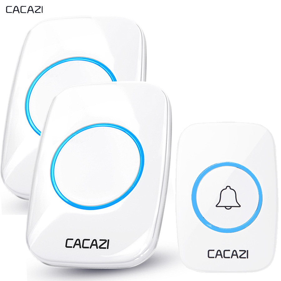 CACAZI New Wireless Doorbell Waterproof 300M Remote EU AU UK US Plug Door Bell Chime battery 110V-220V 1 2 button 1 2 3 receiver wireless cordless digital doorbell remote door bell chime waterproof eu us uk au plug 110 220v