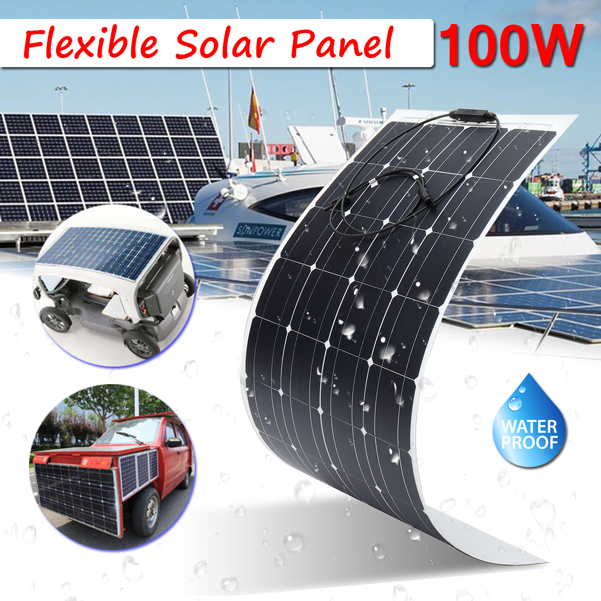 For Home RV Boat 100W 18V Semi Flexible Solar Panel Off Grid Mono Silicon Waterproof 23.5% Efficiency Super Thin Design Safety