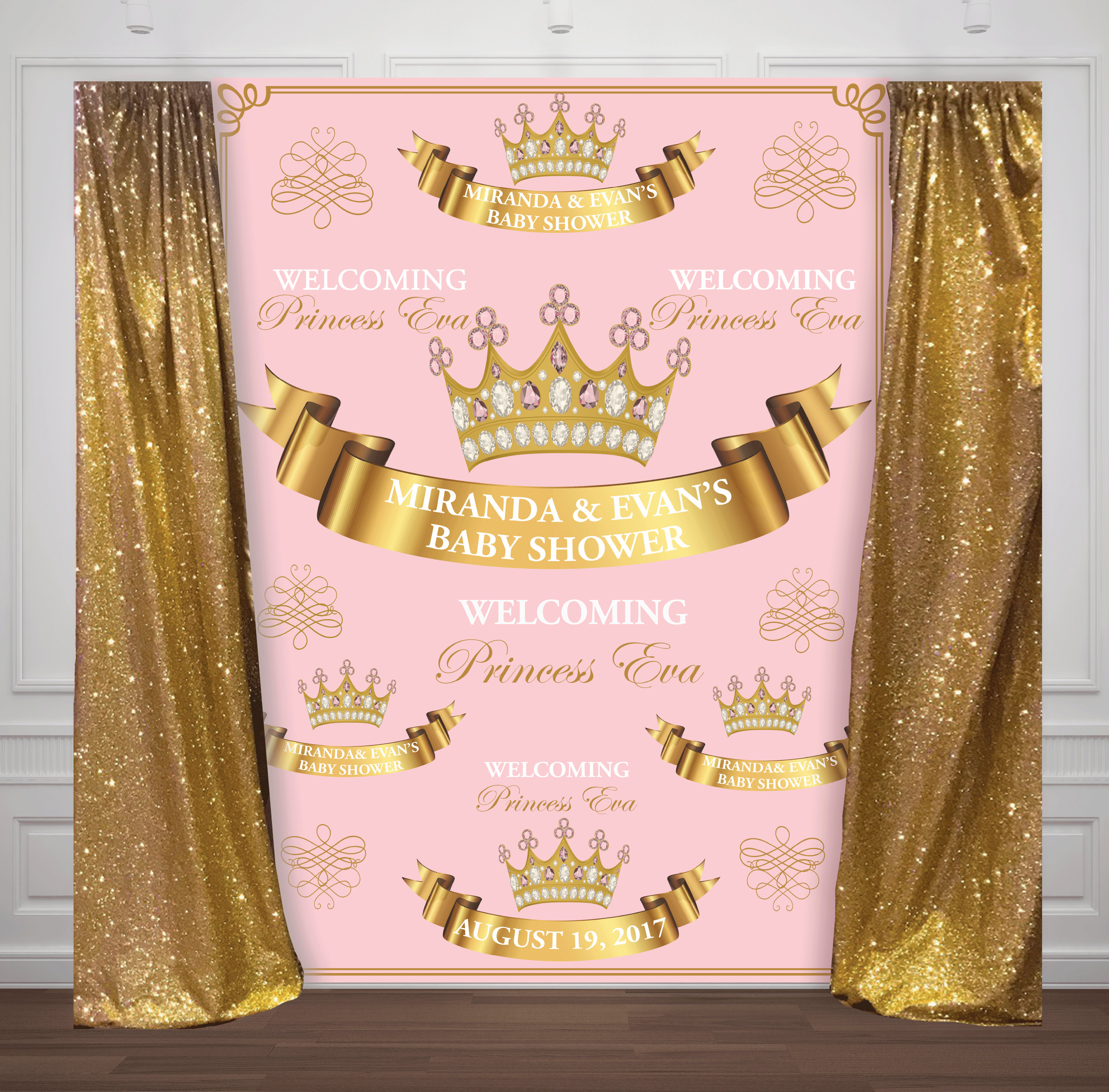 custom repeat pink and gold princess crown baby shower photo backdrop High quality Computer print party background