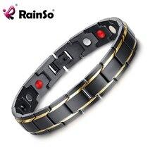 Rainso Brand Design Fashion Health Energy Bracelet Bangle Men 316L Stainless Steel 4 in 1 Bio Magnetic Bracelets Jewelry 1540