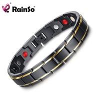 Rainso Brand Design Fashion Health Energy Bracelet Bangle Men 316L Stainless Steel 4 In 1 Bio