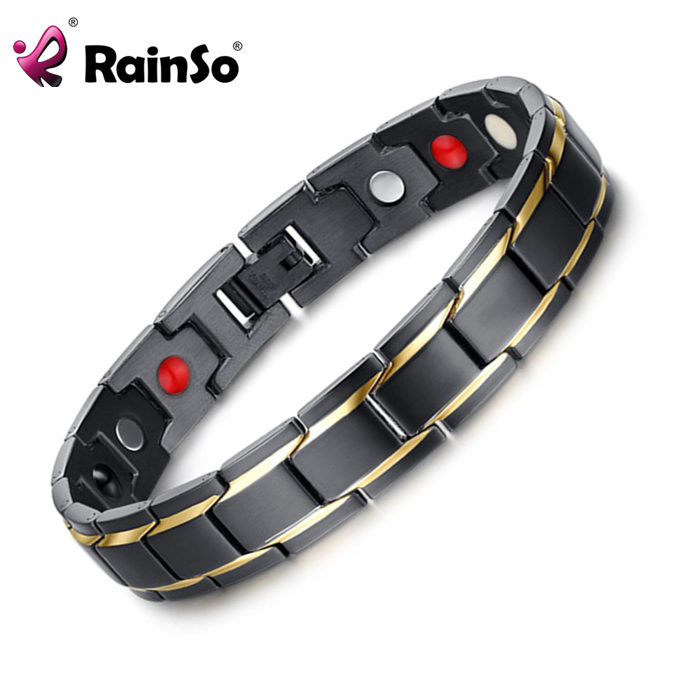 Rainso Brand Design Fashion Health Energy Bracelet Bangle Men 316L Stainless Steel 4 in 1 Bio Magnetic Bracelets Jewelry 1540