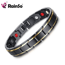 цены Rainso Brand Design Fashion Health Energy Bracelet Bangle Men 316L Stainless Steel 4 in 1 Bio Magnetic Bracelets Jewelry 1540
