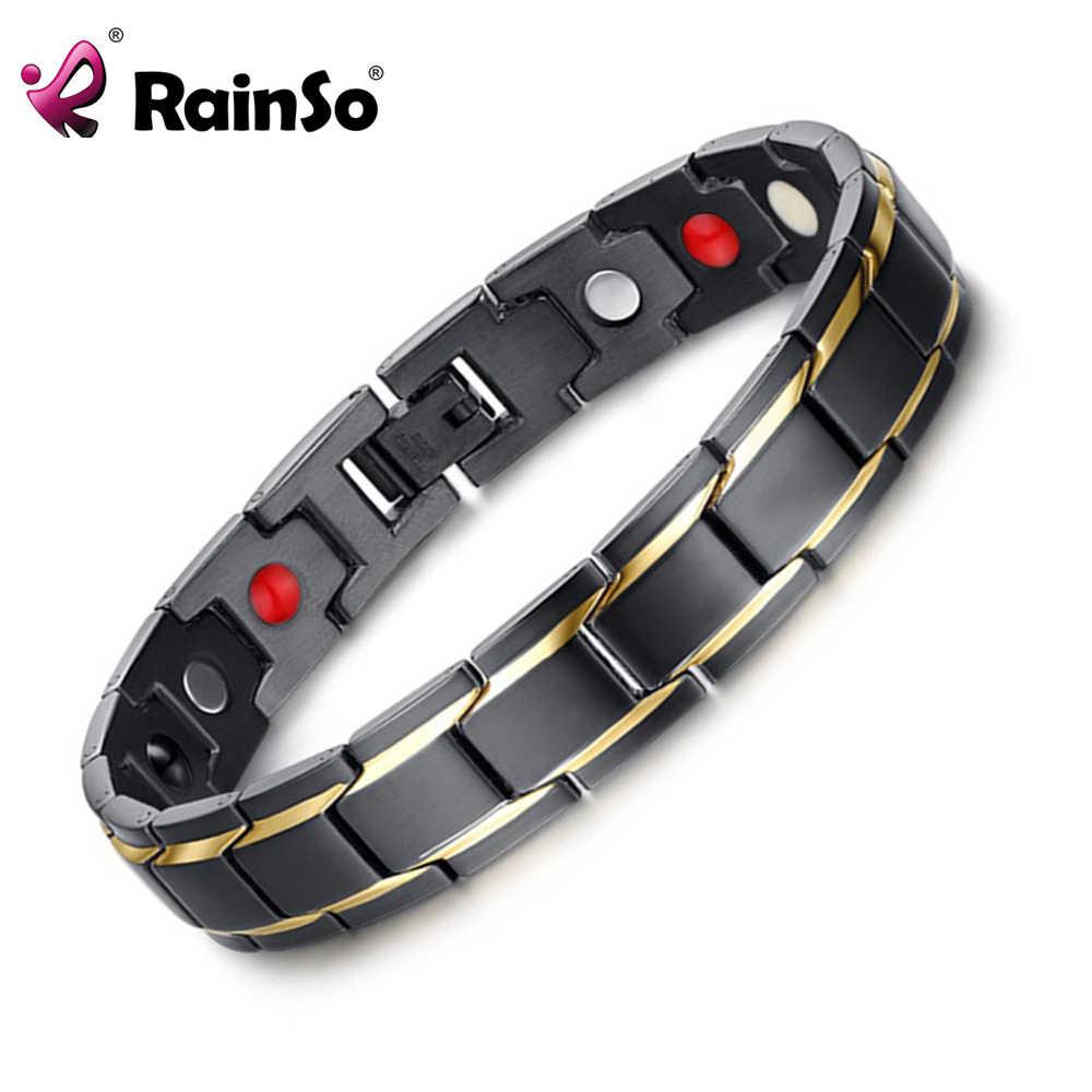 Rainso marka projekt moda zdrowie bransoletka energetyczna bransoletka mężczyzn ze stali nierdzewnej 316L 4 w 1 Bio bransoletki magnetyczne biżuteria 1540