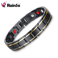 Rainso Brand Design Fashion Health Energy Bracelet Bangle Men 316L Stainless Steel 4 In 1 Bio