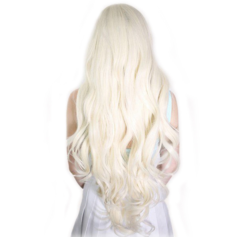 DLME Milk White Long Natural Straight Synthetic Lace Front Wigs Platinum Blonde Hair Heat Resistant Fiber With Middle Part