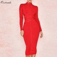 Ocstrade New Arrival 2019 Women's Midi Bandage Dress Red Sexy High Neck Long Sleeve Bodycon Bandage Dress Rayon Party Dresses