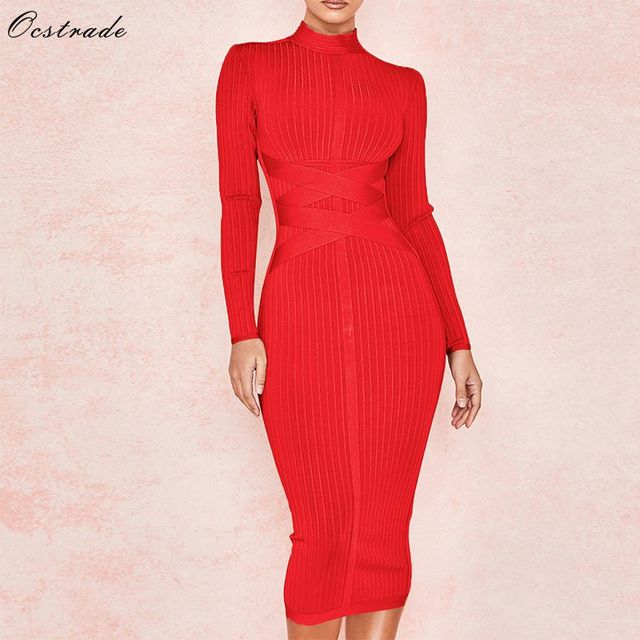 Ocstrade New Arrival 2020 Womens Midi Bandage Dress Red Sexy High Neck Long Sleeve Bodycon Bandage Dress Rayon Party Dresses