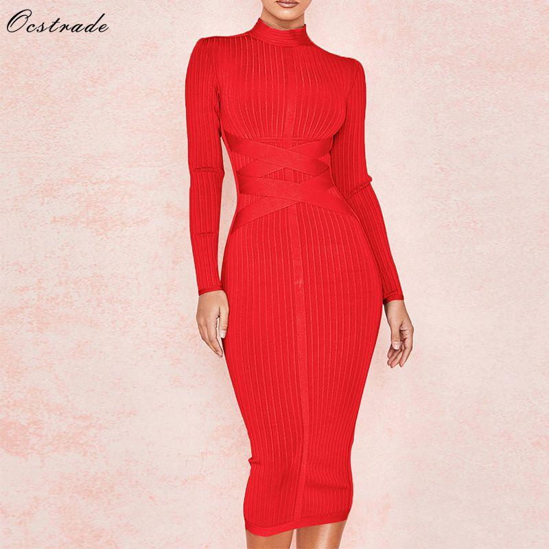 Ocstrade, novedad de 2020, vestido de vendaje Midi para mujer, rojo sexi, cuello alto, manga larga, vestido ceñido al cuerpo, vestidos de fiesta de rayón