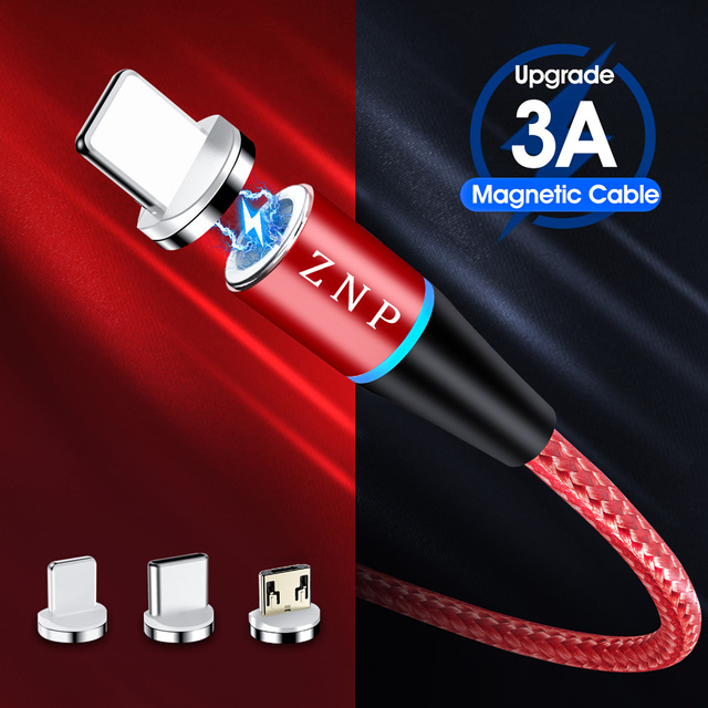 ZNP 3A Magnetic Micro USB Cable For iPhone Samsung Type C Charging Charge Magnet Charger Adapter USB Type-C Mobile Phone Cables