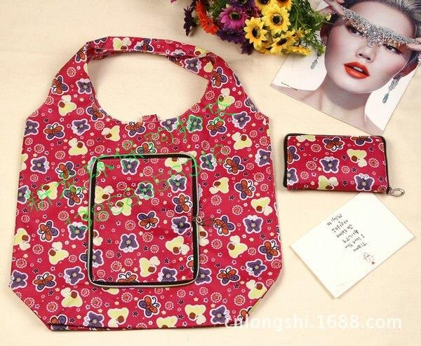 reutilizável nylon dobrável shopping bag com zipper