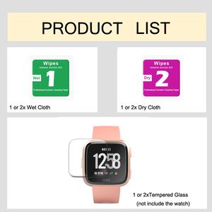 Image 2 - 1/2 PCS HD Tempered Screen Glass Protector Film For Fitbit Versa Smart watch Accessories 9H 2.5D Premium Screen Protector