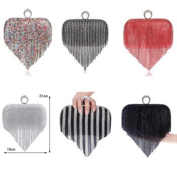 Tassel Rhinestone Finger Ring Evening Bags Diamonds Wedding Handbags Women Day Clutch Mini Purse Bag With Chain Mixed Color