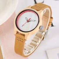 Reloj de madera mujer colores pulso cuero 1