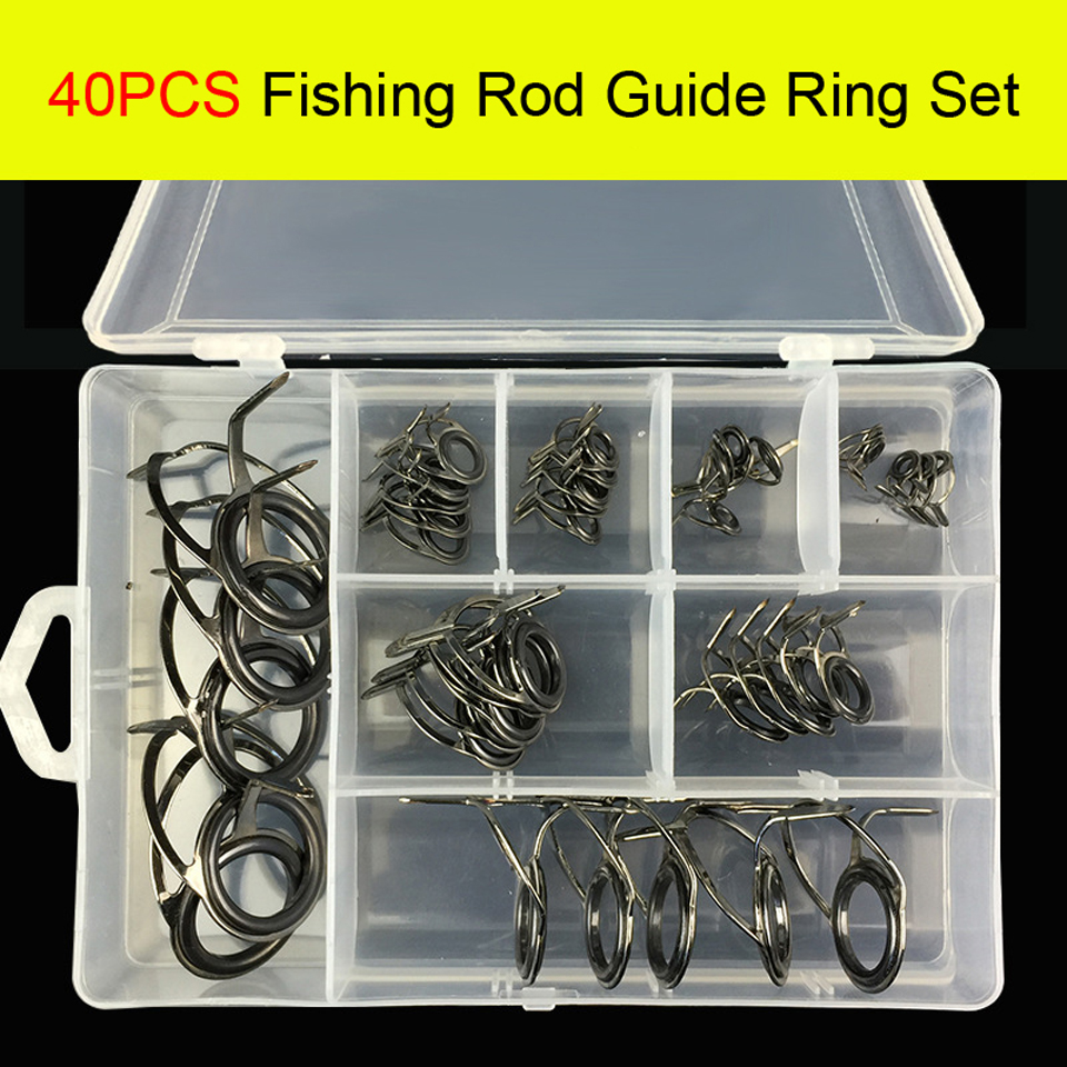 80//Box Ceramic Carbon Steel Sea Fishing Rod Guides Line Rings Repair Eyes Tips