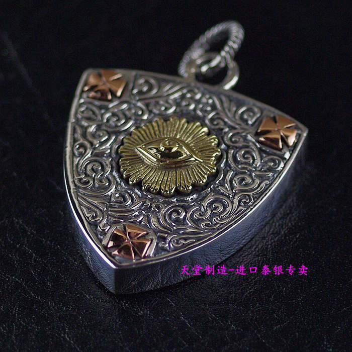 Thailand imports, genuine GV new 925 sterling silver pendant box picks the eye of God thailand imports skull blood new skeleton silver ring