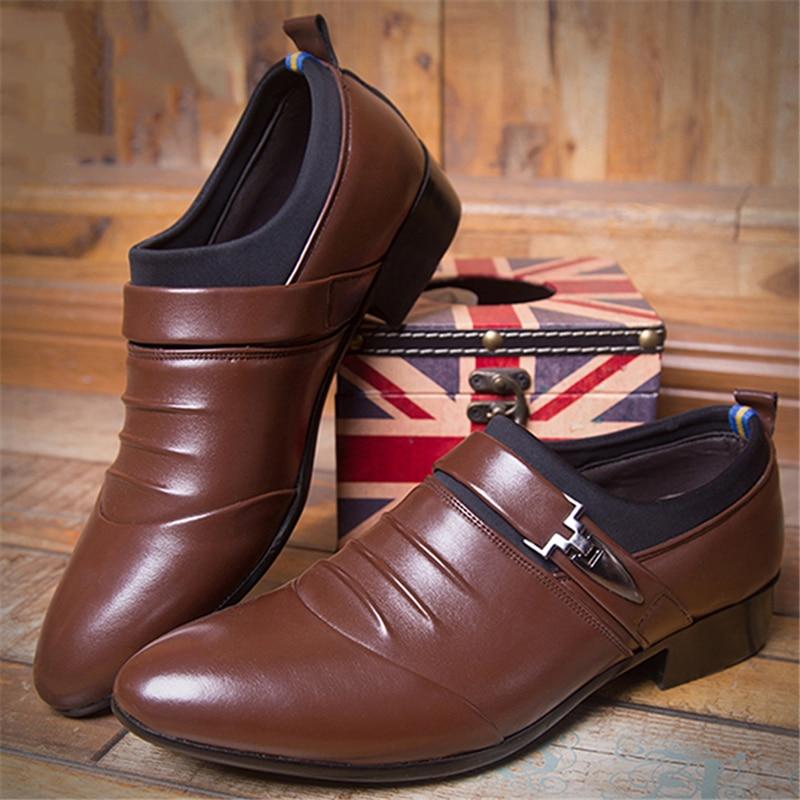 Robe Slip Taille 38 on Haute La Mariage Pour De Plus Qualité Mens Pointu Bout Plat brown 45 915497 Chaussures Hommes D'affaires Black vdSwUq