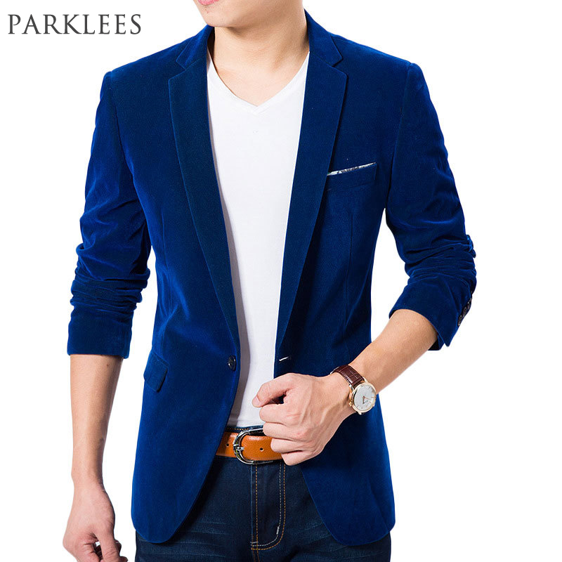 Berkualiti Tinggi Royal Blue Velvet Blazer Lelaki 2017 New Autumn Korean Fashion Mens Slim Single Button Blazer Jacket Blazer Perkahwinan