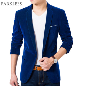 Image 1 - High Quality Royal Blue Velvet Blazer Men 2017 New Autumn Korean Fashion Mens Slim Single Button Blazer Jacket Wedding Blazer