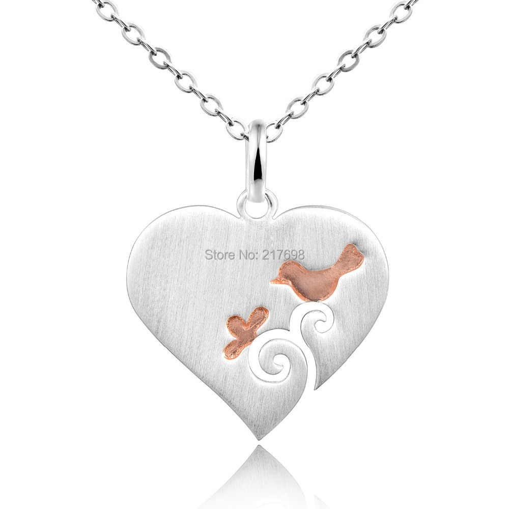 DORMITH 925 sterling silver plain Heart with cute Bird pendant necklace silk matt Pink Gold plated for women fashion jewelry