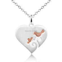 цены DORMITH 925 sterling silver necklace plain Heart with Bird pendant necklace silk matt silver plated for women fashion jewellery