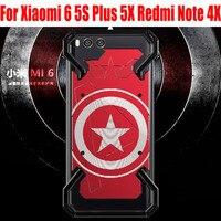 Fashion Cool US Captain Aluminum Metal Case For Xiaomi 6 5S Plus 5X Redmi Note 4X