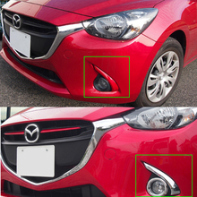 ABS Plastic Glossy Chrome Front Head Fog Lamp Light Ring Trim Cover For 2015 2016 Mazda 2 Demio 2pcs стоимость