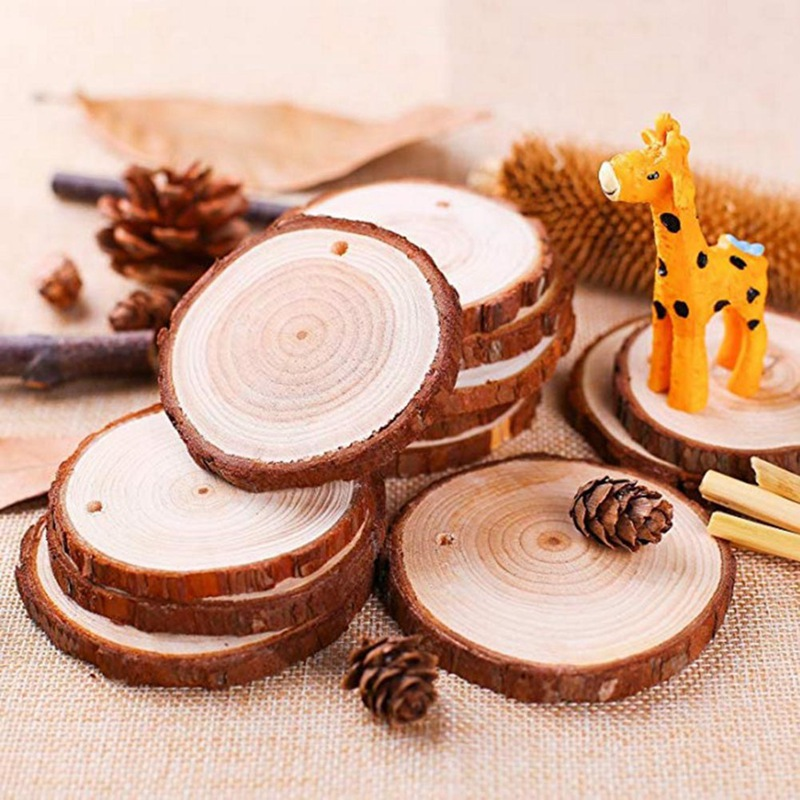 30PCS Wood Disks Crafts Natural Round Wood Slices Circles Log Slices Discs Round Large For Paint Wedding DIY Decor With Twine