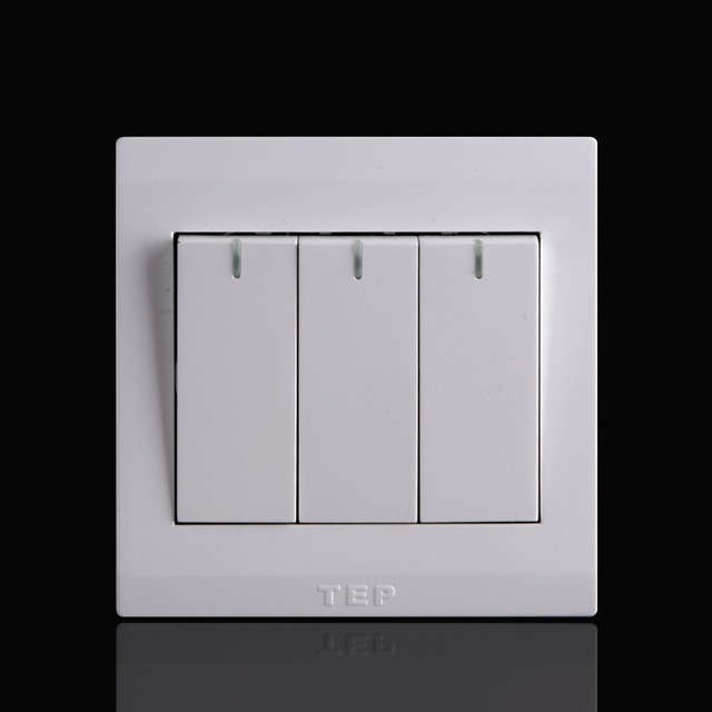 New design pure white three gang two way electrical switch,guarantee ...