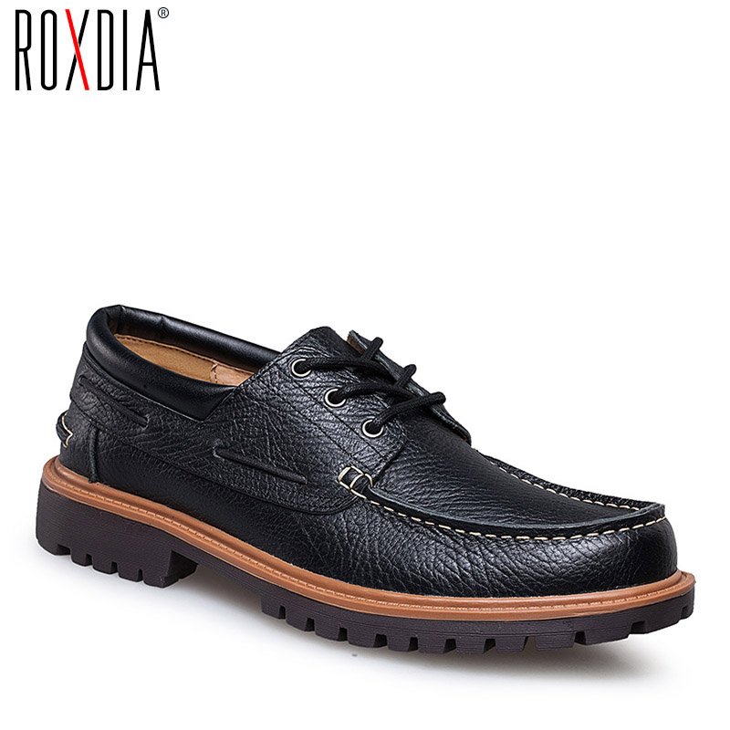 ROXDIA Brand Genuine Leather Men Casual Shoes Waterproof Loafers Dress Shoes Work Flat Male Driver Shoe Plus Size 39-47 RXM059