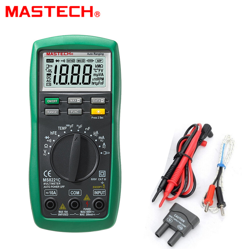 Mastech MS8221C 1999 Count Digital Multimeter Auto Manual Range DMM Temperature Capacitance Continuity/Diode/Transistor hFE Test