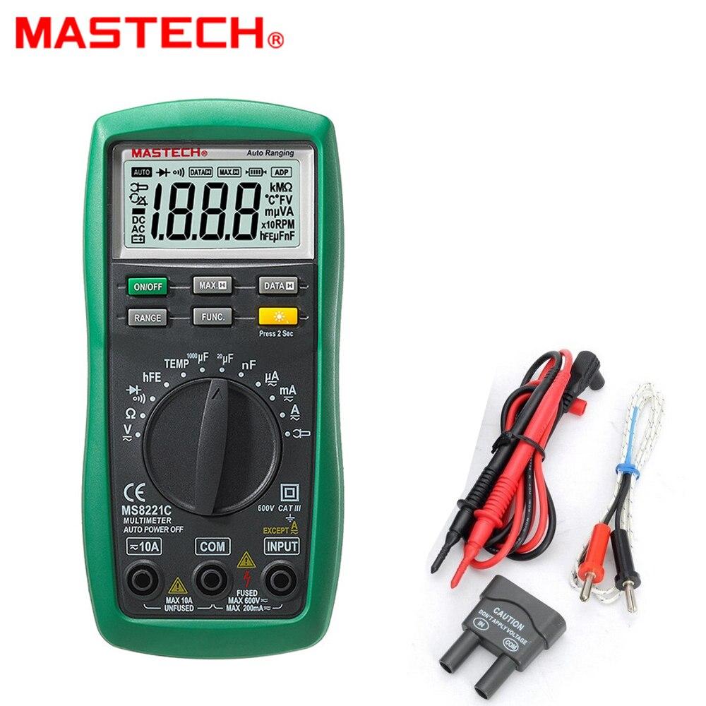 Mastech MS8221C 1999 Count Multimetro Digitale Auto Gamma Manuale DMM Temperatura Capacità Continuità/Diodo/Transistor hFE Test