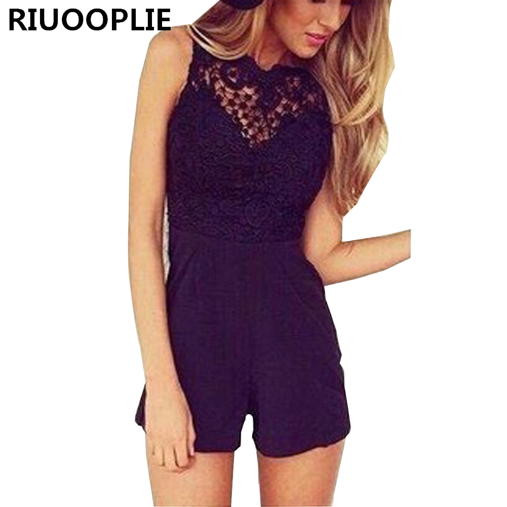 RIUOOPLIE Women Sexy Lace Splicing Leaking Back Slim Jumpsuits Shorts Beach Bodysuit ...