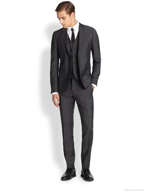 2017 Envío Libre Por Encargo Del Smoking Del Novio/Trajes de Boda Para Los Hombres de Alta Calidad Slim Fit 3 unidades (Jacket + Pants + Vest)