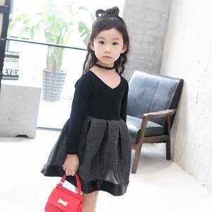 Image 3 - 2018 אביב אופנה ילדה נסיכת שמלת מסיבת חתונה שמלות ילד קוריאני שחור Shoulderles ארוך שרוולים רשת נסיכת שמלת 2 7Y