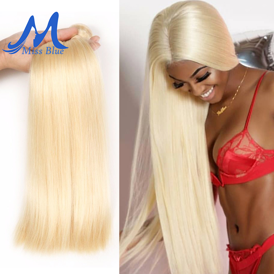 Missblue Peruvian Straight Hair 100% Blonde Human Hair Weave Bundles 613 Color Full 3 4 PC Remy Hair Extensions 28 30 32 34 Inch
